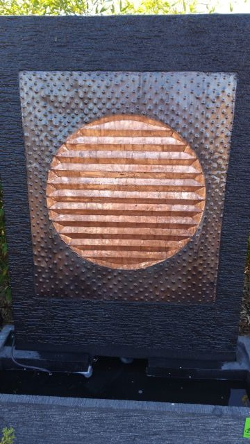 Lava Stone Water Feature With Copper Circles Insert