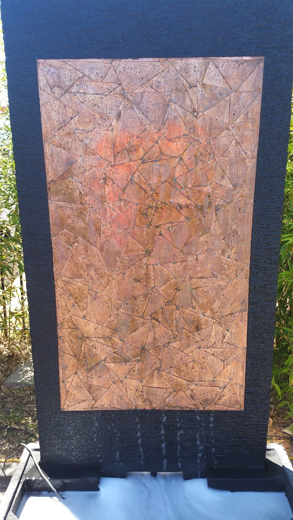 Lava Stone Water Feature With Copper Triangles Insert
