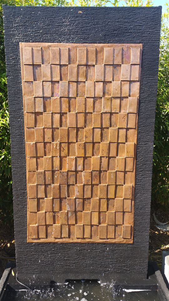 Lava Stone Water Feature With Copper Squares Insert