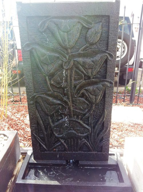 Lava Stone Panel with Lotus Flower