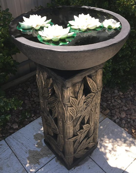 Square Stand Bamboo Bird Bath