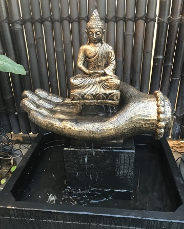 Buddha on Hand Water Feature (Painted)
